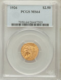 Indian Quarter Eagles: , 1926 $2 1/2 MS64 PCGS. PCGS Population (2536/701). NGC Census:(3464/609). Mintage: 446,000. Numismedia Wsl. Price for prob...