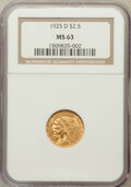 Indian Quarter Eagles: , 1925-D $2 1/2 MS63 NGC. NGC Census: (4308/4599). PCGS Population(3140/2770). Mintage: 578,000. Numismedia Wsl. Price for p...
