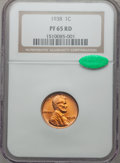 Proof Lincoln Cents: , 1938 1C PR65 Red NGC. CAC. NGC Census: (240/141). PCGS Population(537/268). Mintage: 14,734. Numismedia Wsl. Price for pro...