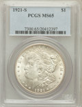Morgan Dollars: , 1921-S $1 MS65 PCGS. PCGS Population (762/31). NGC Census:(746/55). Mintage: 21,695,000. Numismedia Wsl. Price for problem...