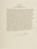 Autographs:Authors, Joseph Heller, American Writer. Typed Excerpt Signed. Overallfine....