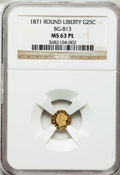 California Fractional Gold, 1871 25C Liberty Round 25 Cents, BG-813, R.3, MS63 Prooflike NGC.NGC Census: (3/4). ...