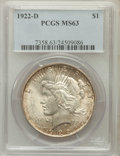Peace Dollars: , 1922-D $1 MS63 PCGS. PCGS Population (2872/4399). NGC Census:(1567/3878). Mintage: 15,063,000. Numismedia Wsl. Price for p...