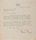 Autographs:Authors, Zane Grey, American Author of Western Novels. Typed Letter Signed. Very good....