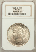 Peace Dollars: , 1925-S $1 MS63 NGC. NGC Census: (1552/1681). PCGS Population(2491/1780). Mintage: 1,610,000. Numismedia Wsl. Price for pro...