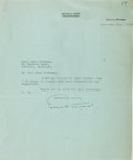 Autographs:Authors, Edgar A. Guest, British-American Writer. Typed Letter Signed. Verygood....