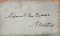 Autographs:Authors, Noah Webster, American Lexicographer. Signature on Small Card. Very good....