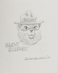 Autographs:Artists, Rudolph Wendelin, American Cartoonist and Creator of Smokey theBear. Signed Original Drawing. Overall fine....