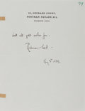 Autographs:Authors, Rebecca West, British Writer. Autograph Note Signed. Overallfine....
