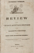 "Books:Americana & American History, [Magdalen Society]. Orthodox Bubbles, or a Review of the ""FirstAnnual Report of the Executive Committee of the New York..."