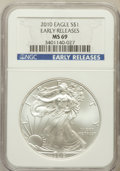 Modern Bullion Coins, 2010 $1 Silver Eagle, Early Releases MS69 NGC. NGC Census:(43734/4406). PCGS Population (8372/45870). Numismedia Wsl. Pri...