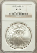 Modern Bullion Coins, 2010 $1 Silver Eagle MS70 NGC. NGC Census: (4406). PCGS Population(45870). Numismedia Wsl. Price for problem free NGC/PCG...