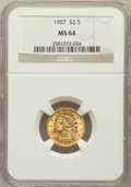 Liberty Quarter Eagles: , 1907 $2 1/2 MS64 NGC. NGC Census: (2047/1516). PCGS Population(2203/1494). Mintage: 336,200. Numismedia Wsl. Price for pro...