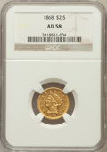 Liberty Quarter Eagles: , 1868 $2 1/2 AU58 NGC. NGC Census: (69/20). PCGS Population (18/12).Mintage: 3,625. Numismedia Wsl. Price for problem free ...