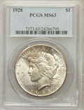 Peace Dollars: , 1928 $1 MS63 PCGS. PCGS Population (2127/1965). NGC Census:(1351/1027). Mintage: 360,649. Numismedia Wsl. Price for proble...