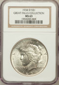 Peace Dollars, 1934-D $1 MS63 NGC. Ex: Great Falls Collection. NGC Census:(1122/1042). PCGS Population (1485/1705). Mintage: 1,569,500. N...