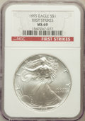Modern Bullion Coins, 1995 $1 Silver Eagle, First Strike MS69 NGC. PCGS Population(907/0)....