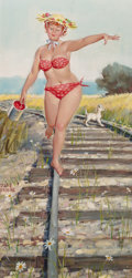Pin-up and Glamour Art, DUANE BRYERS (American, 1911-2012). Hilda Walking the Tracks,Brown & Bigelow calendar illustration. Gouache on board.2...