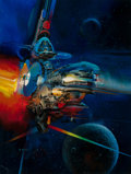 Pulp, Pulp-like, Digests, and Paperback Art, JOHN CONRAD BERKEY (American, 1932-2008). Spaceship TravelingThrough the Moons. Acrylic and casein on board. 23.5 x 17....