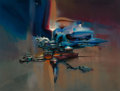 Pulp, Pulp-like, Digests, and Paperback Art, JOHN CONRAD BERKEY (American, 1932-2008). Traveling ThroughSpace. Acrylic and casein on board. 19 x 25 in. (image). Sig...