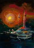 Pulp, Pulp-like, Digests, and Paperback Art, JOHN CONRAD BERKEY (American, 1932-2008). Spaceship Launch.Acrylic an casein on board. 23 x 17 in. (image). Signed lowe...