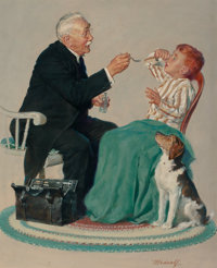 WILLIAM MEDCALF (American, 20th Century) Holding His Nose Oil on canvas 27.5 x 23 in. Signed l