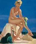 Pin-up and Glamour Art, AMERICAN ARTIST (20th Century). Bad Dog!. Oil on canvas. 24x 19.75 in.. Not signed. ...