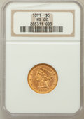 Liberty Half Eagles: , 1891 $5 MS62 NGC. NGC Census: (85/48). PCGS Population (55/44).Mintage: 61,300. Numismedia Wsl. Price for problem free NGC...