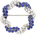 Estate Jewelry:Brooches - Pins, Sapphire, Diamond, Platinum Brooch, Oscar Heyman Bros.. ...