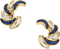 Estate Jewelry:Earrings, Sapphire, Diamond, Gold Earrings, Oscar Heyman Bros.. ...