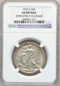 Walking Liberty Half Dollars: , 1933-S 50C -- Improperly Cleaned -- NGC Details. AU. NGC Census:(18/790). PCGS Population (47/1265). Mintage: 1,786,000. N...