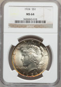 Peace Dollars: , 1924 $1 MS64 NGC. NGC Census: (18299/8744). PCGS Population(12462/3436). Mintage: 11,811,000. Numismedia Wsl. Price for pr...