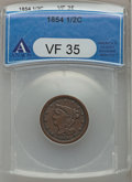 Half Cents: , 1854 1/2 C VF35 ANACS. NGC Census: (1/523). PCGS Population(3/475). Mintage: 55,358. Numismedia Wsl. Price for problem fre...