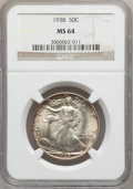 Walking Liberty Half Dollars: , 1938 50C MS64 NGC. NGC Census: (619/1065). PCGS Population(1005/1754). Mintage: 4,118,152. Numismedia Wsl. Price for probl...