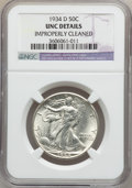 Walking Liberty Half Dollars: , 1934-D 50C -- Improperly Cleaned -- NGC Details. UNC. NGC Census:(0/1148). PCGS Population (4/1901). Mintage: 2,361,400. N...