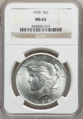 Peace Dollars: , 1925 $1 MS65 NGC. NGC Census: (9985/1789). PCGS Population(6862/1543). Mintage: 10,198,000. Numismedia Wsl. Price for prob...