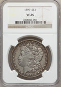 Morgan Dollars: , 1899 $1 VF25 NGC. NGC Census: (14/8193). PCGS Population(20/10940). Mintage: 330,846. Numismedia Wsl. Price for problemfr...