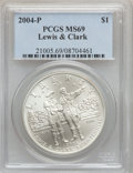 Modern Issues, 2004-P $1 Lewis and Clark Silver Dollar MS69 PCGS. PCGS Population(3178/621). NGC Census: (2483/1444). Numismedia Wsl. Pr...