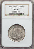 Commemorative Silver: , 1936 50C Cleveland MS64 NGC. NGC Census: (1630/2486). PCGSPopulation (2801/2808). Mintage: 50,030. Numismedia Wsl. Price f...