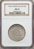 Commemorative Silver: , 1936-D 50C Rhode Island MS64 NGC. NGC Census: (558/1039). PCGSPopulation (908/1398). Mintage: 15,010. Numismedia Wsl. Pric...