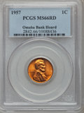 Lincoln Cents: , 1957 1C MS66 Red PCGS. Ex: Omaha Bank Hoard. PCGS Population(543/5). NGC Census: (1347/130). Mintage: 283,787,968. Numisme...