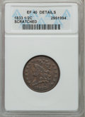 Half Cents: , 1833 1/2 C -- Scratched -- ANACS. XF40 Details. NGC Census:(11/400). PCGS Population (33/459). Mintage: 120,000. Numismedi...