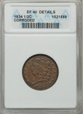 Half Cents: , 1834 1/2 C -- Corroded -- ANACS. XF40 Details. NGC Census:(11/439). PCGS Population (39/434). Mintage: 141,000. Numismedia...