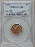 Lincoln Cents: , 1929-S 1C MS64 Red PCGS. PCGS Population (522/252). NGC Census:(181/170). Mintage: 50,148,000. Numismedia Wsl. Price for p...