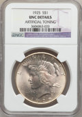 Peace Dollars: , 1925 $1 -- Artificial Toning -- NGC Details. UNC. NGC Census:(20/43151). PCGS Population (59/37641). Mintage: 10,198,000. ...