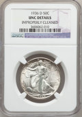 Walking Liberty Half Dollars: , 1936-D 50C -- Improperly Cleaned -- NGC Details. UNC. NGC Census:(0/1529). PCGS Population (3/2901). Mintage: 4,252,400. N...