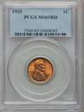 Lincoln Cents: , 1925 1C MS65 Red PCGS. PCGS Population (508/402). NGC Census:(183/126). Mintage: 139,948,992. Numismedia Wsl. Price for pr...