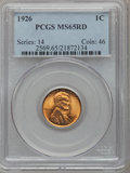 Lincoln Cents: , 1926 1C MS65 Red PCGS. PCGS Population (866/556). NGC Census:(364/232). Mintage: 157,088,000. Numismedia Wsl. Price for pr...
