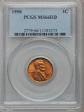 Lincoln Cents: , 1950 1C MS66 Red PCGS. PCGS Population (470/18). NGC Census:(558/69). Mintage: 272,686,400. Numismedia Wsl. Price for prob...
