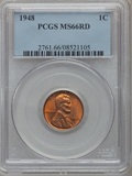Lincoln Cents: , 1948 1C MS66 Red PCGS. PCGS Population (380/7). NGC Census:(512/54). Mintage: 317,569,984. Numismedia Wsl. Price for probl...